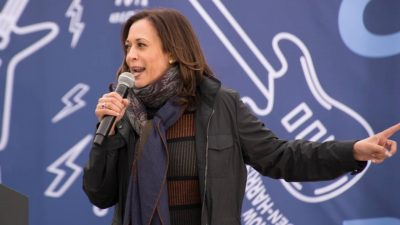 Kamala Harris wasn't sure where she was as she prepared to address supporters in Cleveland on Saturday