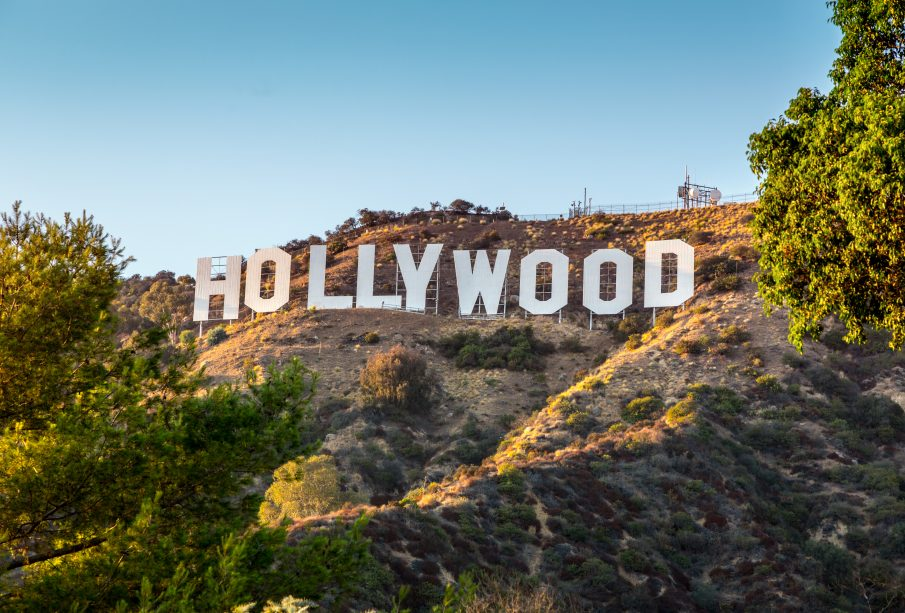 Hollywood sign altered, six arrested